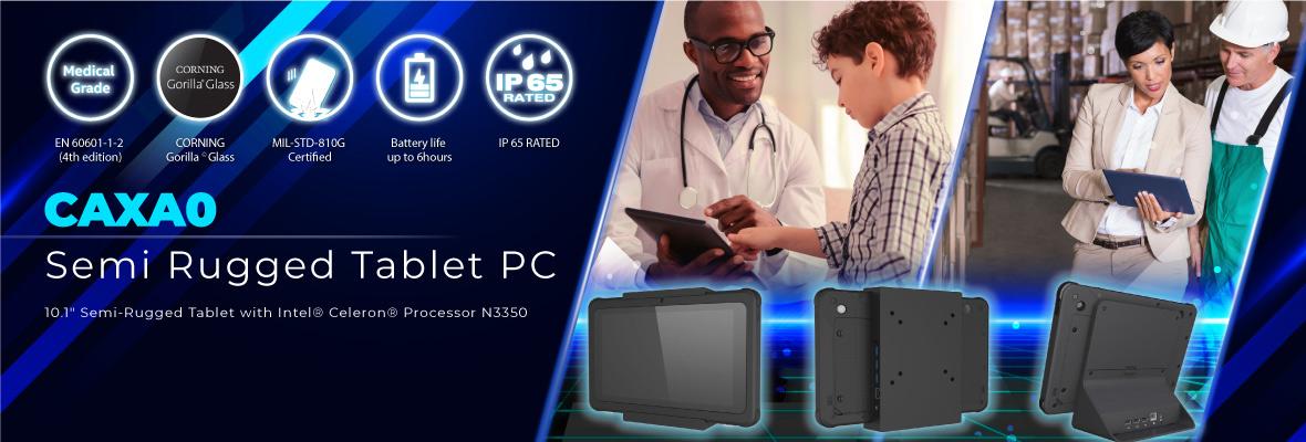 Częściowo wzmocniony Tablet PC CAXA0 firmy Avalue Technology dla szerokiego spektrum zastosowań