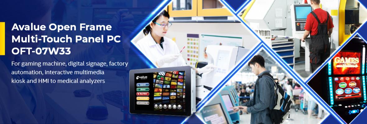 OFT-07W33 7-calowy, wielodotykowy tablet PC w formie ramki Open Frame firmy Avalue dla szerokiego zakresu aplikacji HMI
