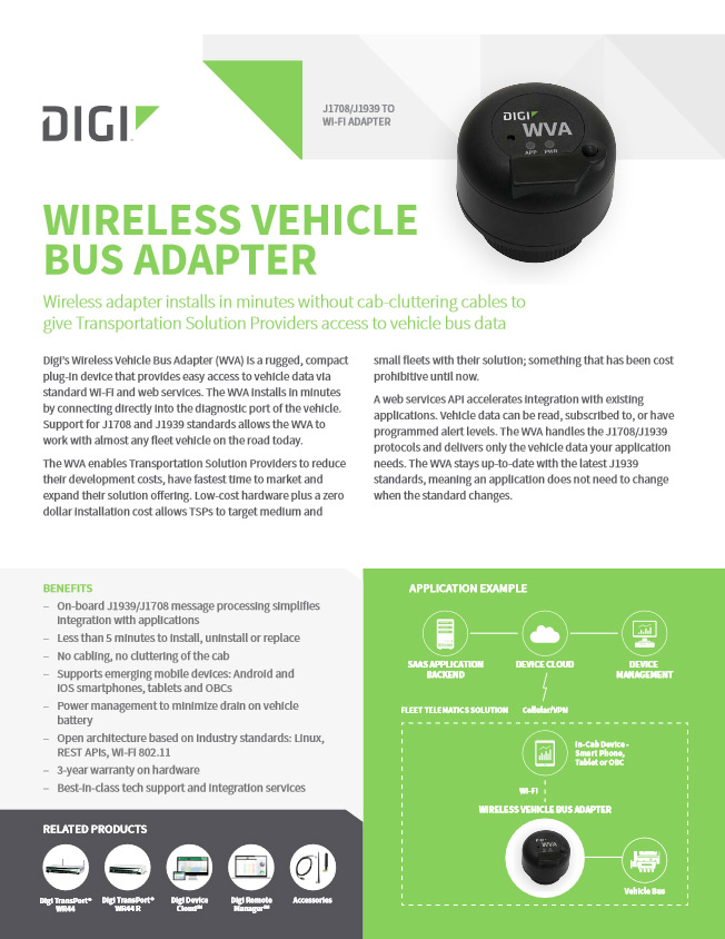 Wireless Transport Bus Adapter (WVA) firmy Digi International
