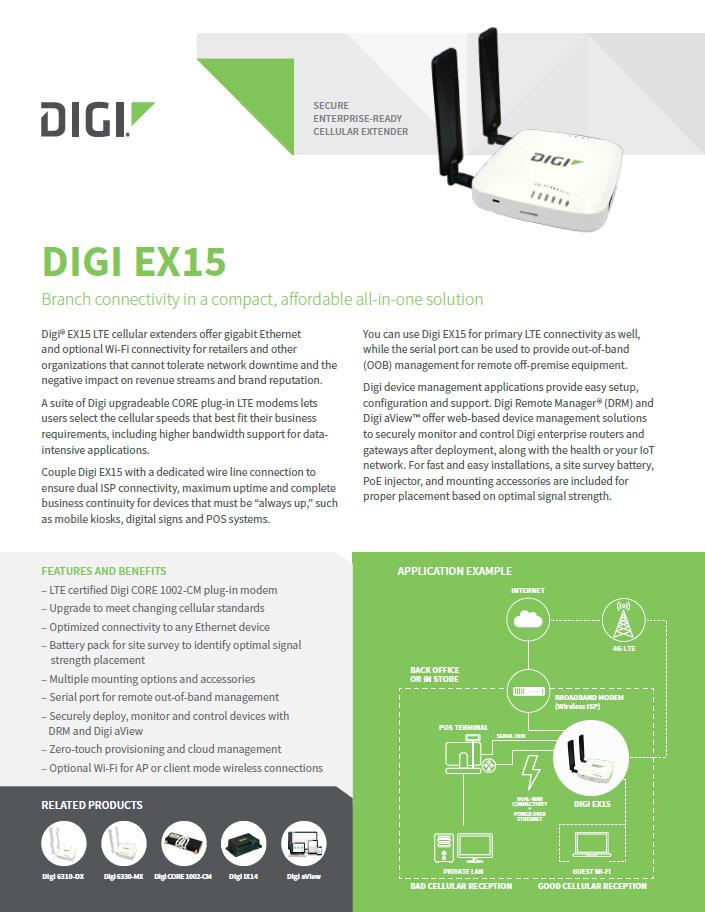 Digi EX15 komercyjnej klasy ekstender komórkowy LTE-Advanced Pro (CAT11)
