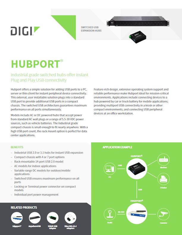 Digi Hubport/7c - przemysłowej klasy, kompaktowy koncentrator USB 3.1 SuperSpeed