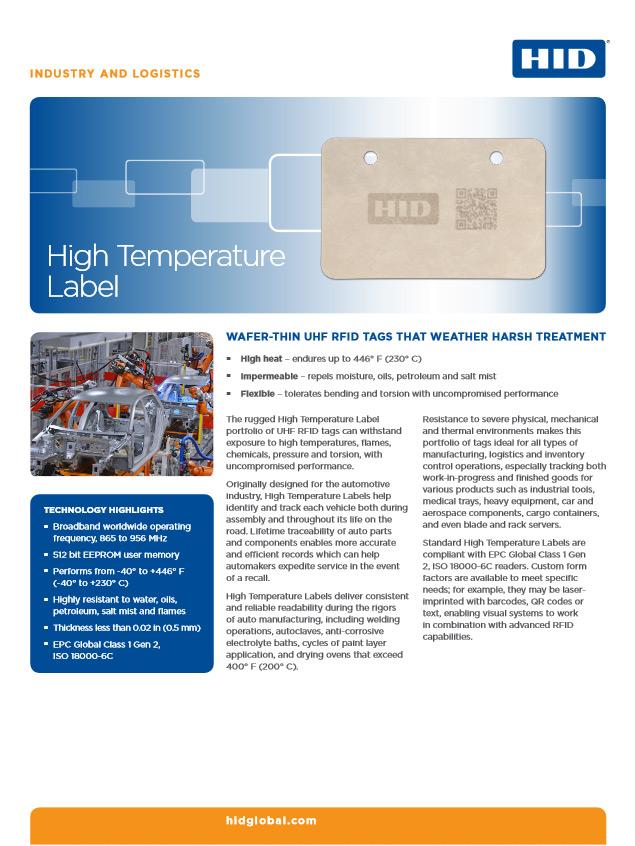 High Temperature Label etykiety RFID o wysokiej odporności termicznej firmy HID Global