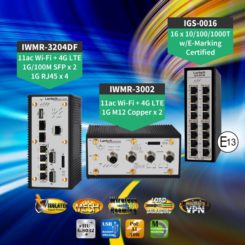 Przemysłowej klasy routery 7 w 1 firmy Lantech z obsługą Wi-Fi, LTE, PoE, VPN