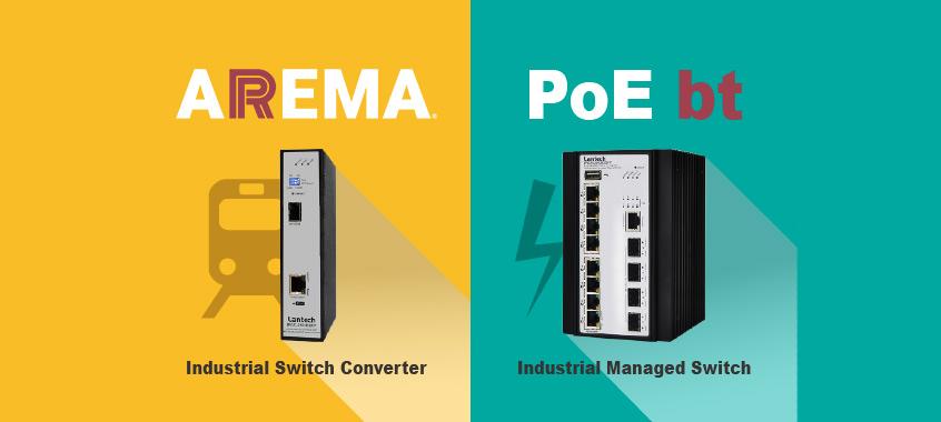 Konwerter przełączników przemysłowych z certyfikatem AREMA dla aplikacji taboru kolejowego oraz switch Ethernet z obsługą PoE bt firmy Lantech