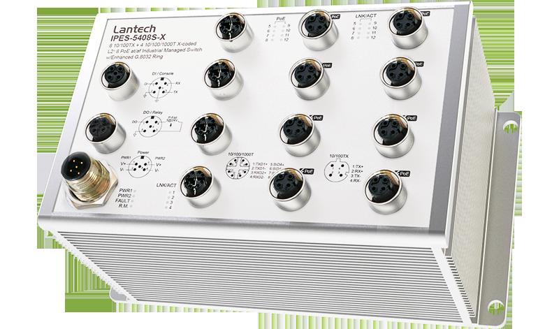 Lantech IPES-5408S-X-65 Przemysłowy zarządzalny switch 8x 10/100TX + 4x 10/100/1000T X-coded L2+ 8x PoE at/af z/Enhanced G.8032 Ring & PTP dla aplikacji taboru kolejowego