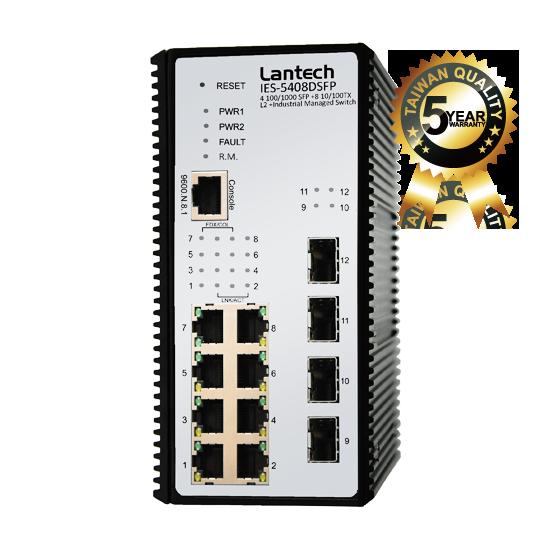 Lantech IES-5408DSFPM-PT Przemysłowy zarządzalny switch 8x 10/100TX + 4x Dual Speed SFP L2+ Industrial Managed Switch w/PTP V2