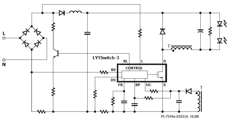 Schemat układu LYTSwitch-3