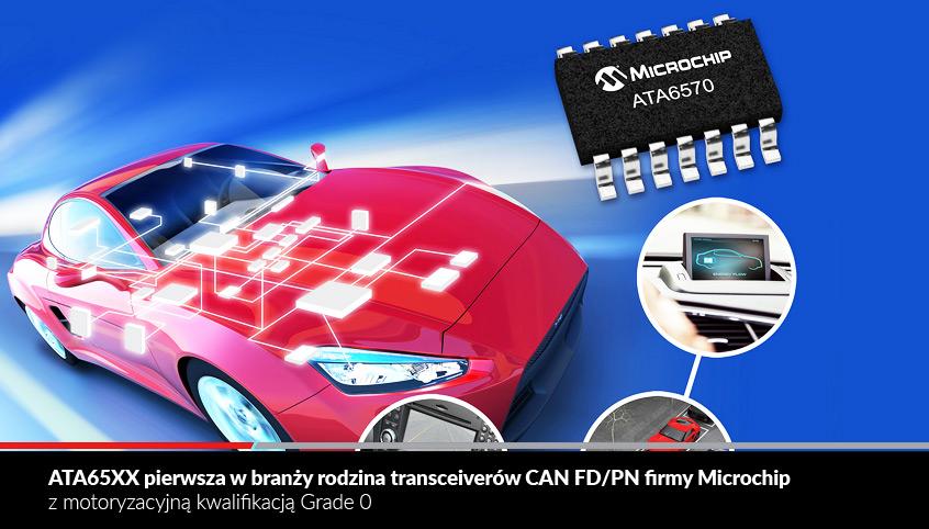 ATA65XX pierwsza w branży rodzina transceiverów CAN FD/PN firmy Microchip z motoryzacyjną kwalifikacją AEC-Q100 Grade 0