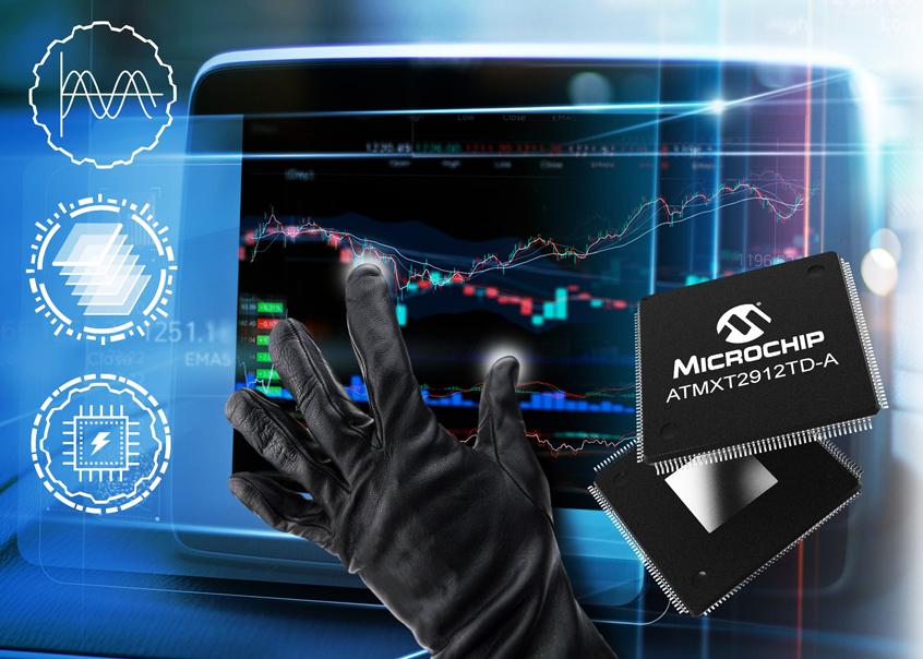 ATMXT2912TD-A wydajny kontroler dotykowy maXTouch® firmy Microchip dla pojemnościowych, motoryzacyjnej klasy ekranów dotykowych o przekątnej do 20 cali