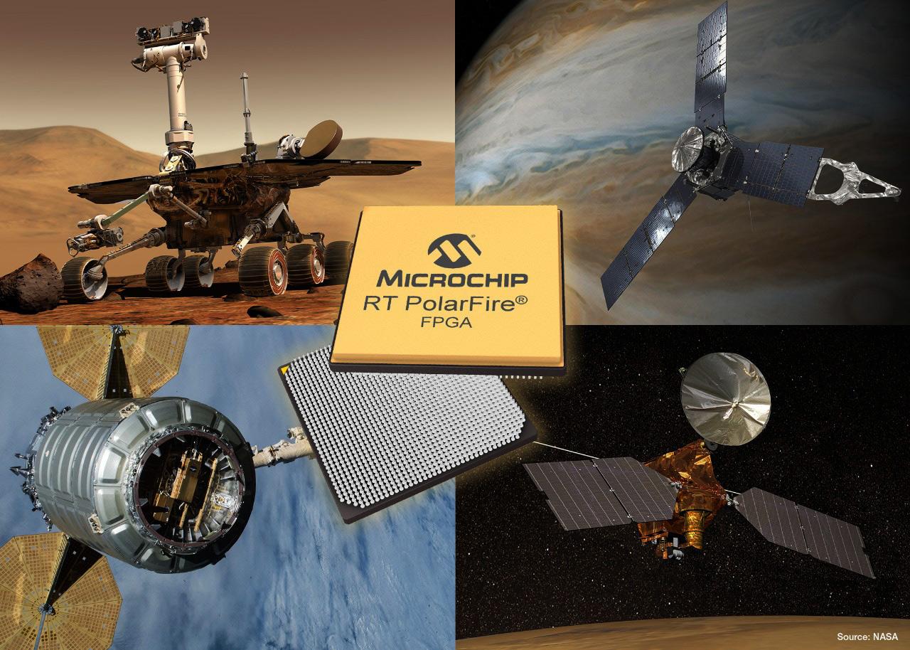 RT PolarFire® Field Programmable Gate Array (FPGA) RTPF500T firmy Microchip z rygorystycznymi dopuszczeniami dla aplikacji stosowanych w kosmosie