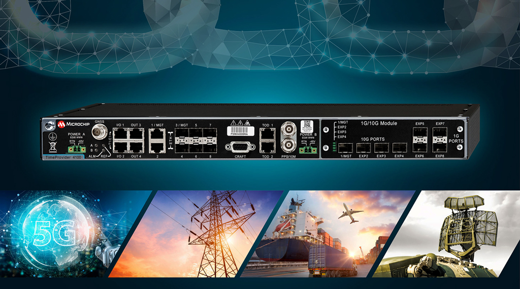 TimeProvider 4100 2.2 firmy Microchip zapewnia redundantny, odporny i bezpieczny zegar odniesienia dla krytycznych aplikacji infrastrukturalnych