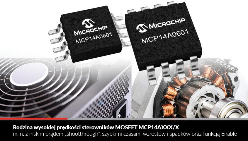 """Rodzina wysokiej prędkości sterowników MOSFET MCP14AXXX/X m.in. z niskim prądem """"shootthrough"""", szybkimi czasami wzrostów i spadków oraz funkcją Enable"""