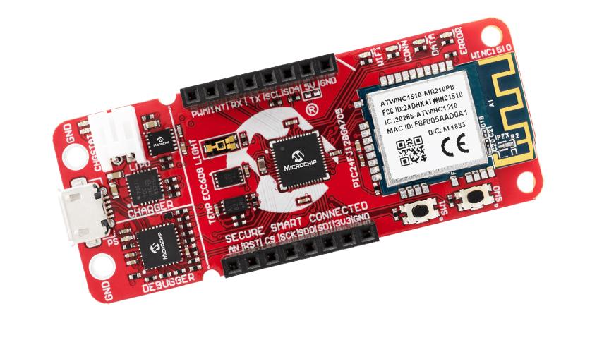 AC164164 PIC-IoT WG Development Board firmy Microchip dla wsparcia projektowania aplikacji IoT bazujących na mikrokontrolerach PIC