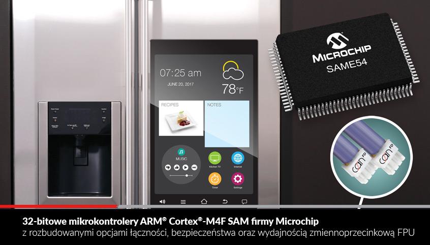 32-bitowe mikrokontrolery ARM® Cortex®-M4F SAM firmy Microchip z rozbudowanymi opcjami łączności, bezpieczeństwa oraz wydajnością zmiennoprzecinkową FPU