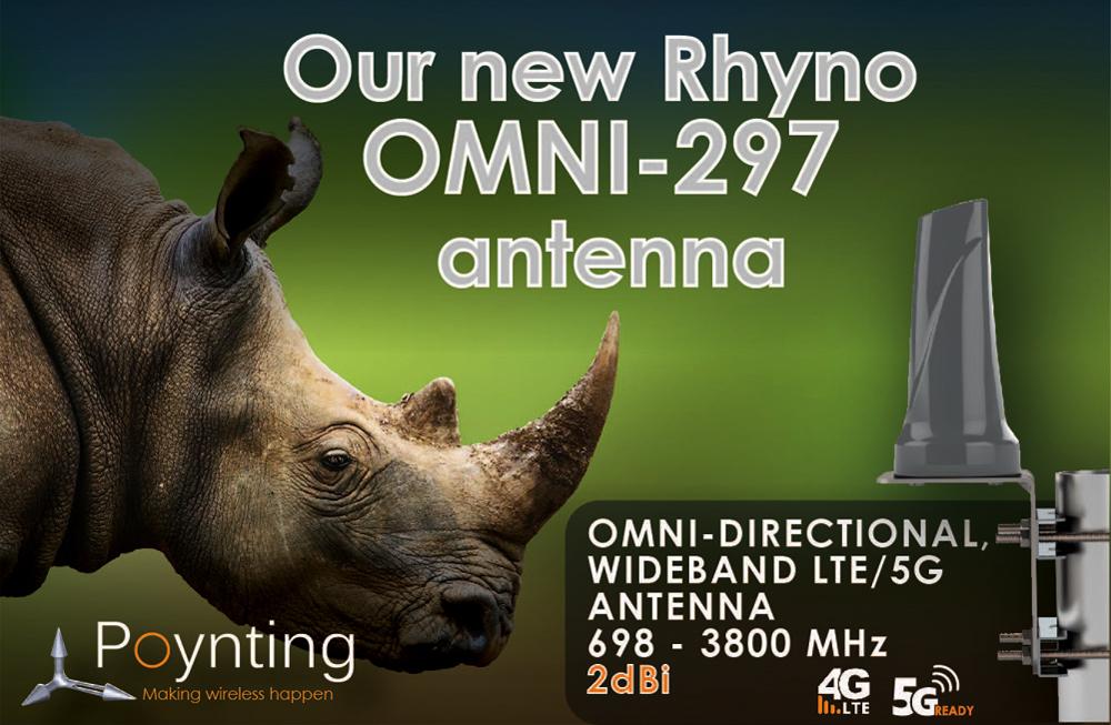 Dookólna szerokopasmowa antena komórkowa OMNI-297 Rhyno firmy Poynting dla aplikacji IoT oraz M2M