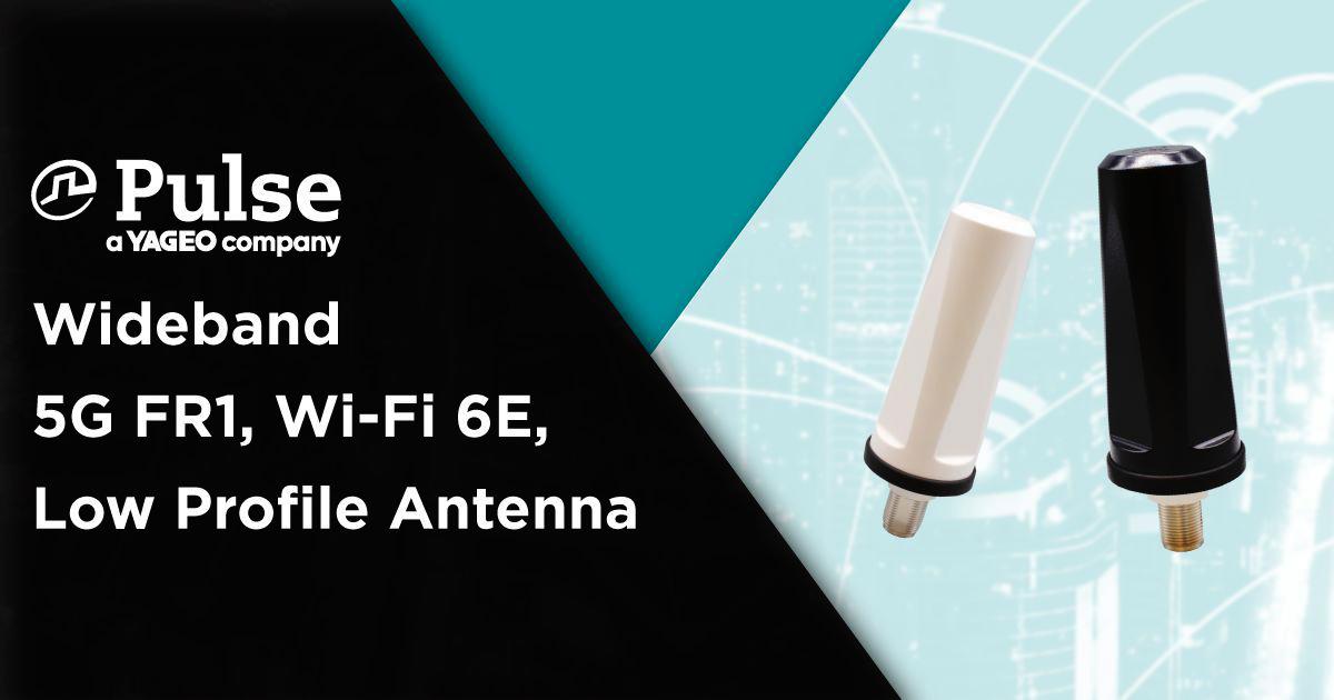 LPT600/71DMN kompaktowa, szerokopasmowa, dookólna antena firmy Pulse Electronics dla aplikacji 5G i Wi-Fi 6