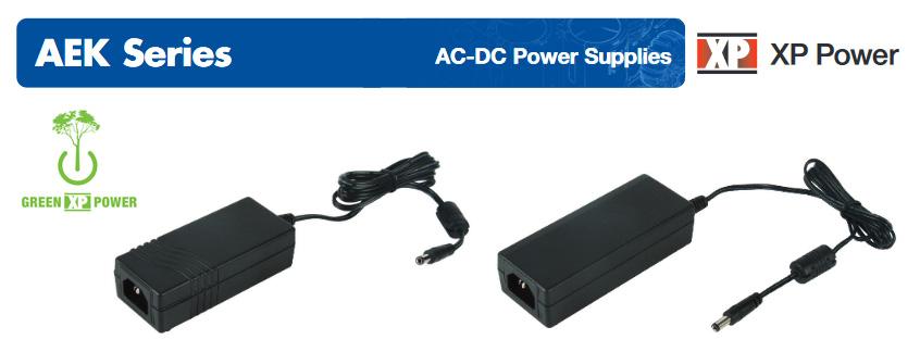 Nowa seria zasilaczy zewnętrznych AEK firmy XP Power o mocy 40 i 60W oraz wysokiej sprawności i ultraniskim poborze w stanie spoczynku