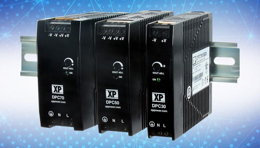Wysokiej wydajności, ultra cienkie zasilacze AC-DC na szynę DIN serii DPC firmy XP Power