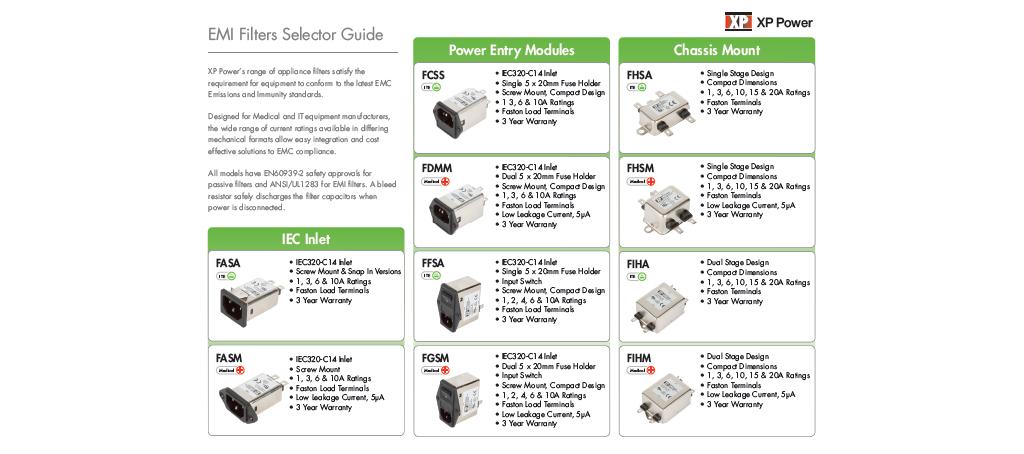 Selektor filtrów EMI firmy XP Power